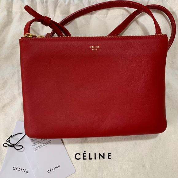 Celine Trio Bag in Red
